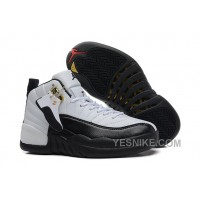 Big Discount! 66% OFF! Girls Air Jordan 12 GS White Black For Womens Cheap Online Sale