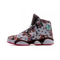 Big Discount! 66% OFF! Women Nike Air Jordan 13 Floral Brown Coffee With Flower Smallest Size US5.5