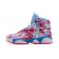 Big Discount! 66% OFF! Women Nike Air Jordan 13 Floral Skyblue With Pink Rose 2015 Christmas Gift