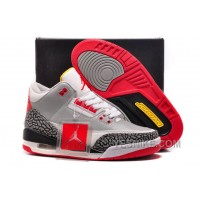 Big Discount! 66% OFF! For Sale Air Jordan 3 GS Retro Wolf Grey-Sport Red/Black Cement-White For Womens