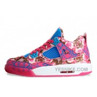 "Big Discount! 66% OFF! Womens Air Jordan 4 Retro GS ""Rose"" Cherry Pink/Dynamic Blue-White For Girls Sale"