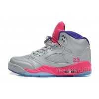 Big Discount! 66% OFF! Girls Air Jordan 5 Retro GS Cement Grey/Pink Flash-Raspberry Red-Electric Purple Sale