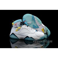 Big Discount! 66% OFF! Jordan 7 N7 White GS 2015 White Dark Turquoise Black Ice Cube Blue