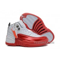 Big Discount! 66% OFF! Womens Air Jordan 12 GS White And Red For Girls On Sale