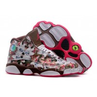 "Big Discount! 66% OFF! Girls Air Jordan 13 GS ""Floral"" White Brown Red Womens For Sale"