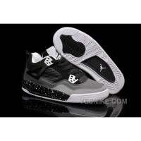"Big Discount! 66% OFF! Cheap Air Jordan 4 Girls ""Stealth-Oreo"" Dark Grey/Black-White Sale"