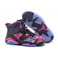 "Big Discount! 66% OFF! Air Jordan Retro 6 ""Floral Print"" Black Pink Girls Size For Sale"