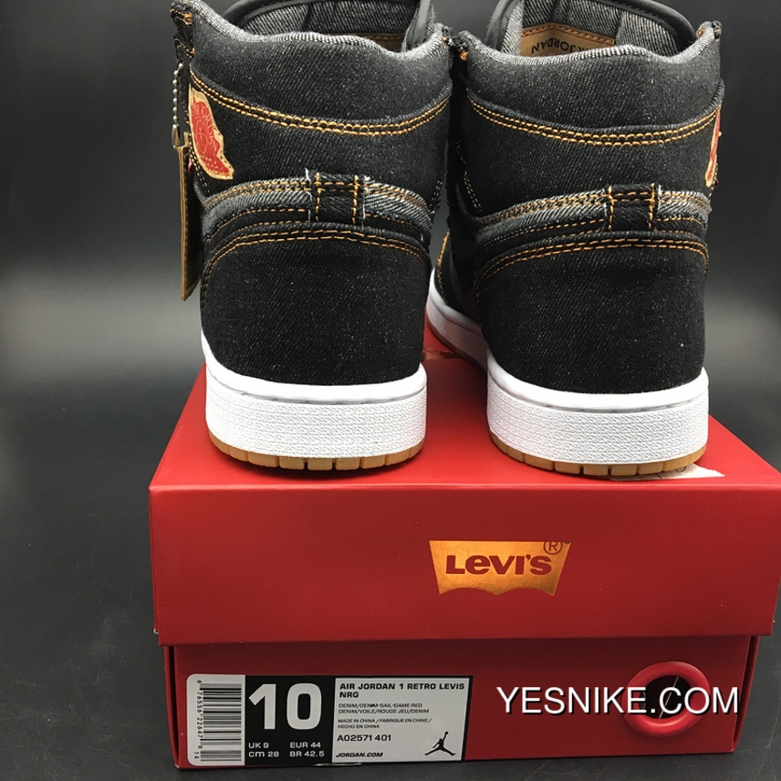 official photos 76690 d67d3 Jordan 1 Levis X Air 1 Black Levis 7-13 New Release