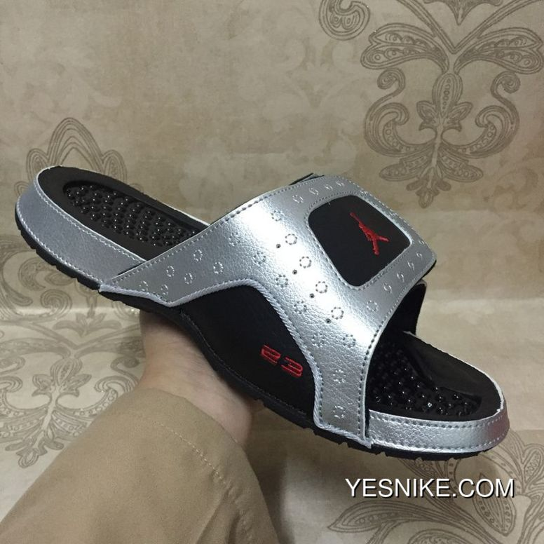 uk availability 0ee08 b6bd0 Nike Air Jordan Hydro 13 Xiii Retro 3M Silver Black Red Sandals Slides Best