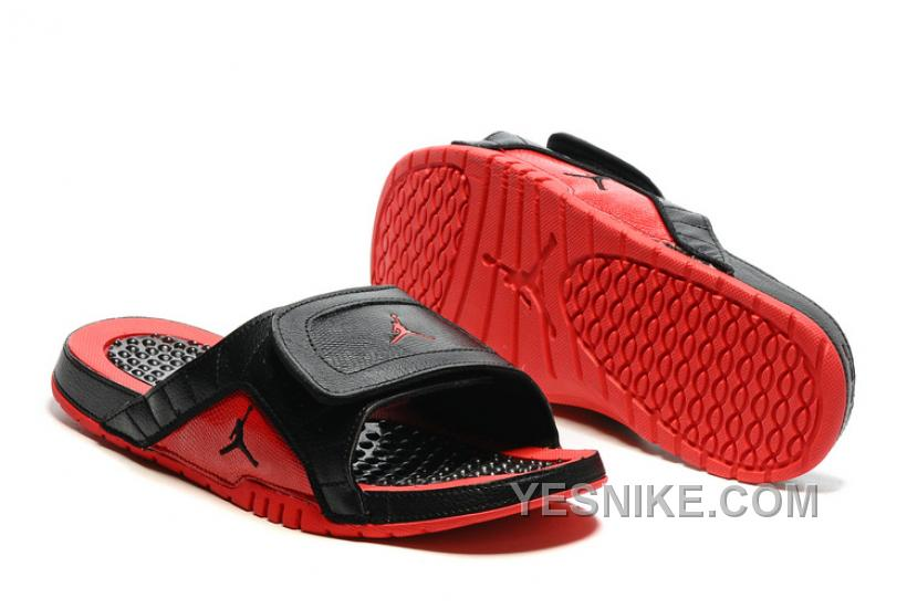 Big Discount! 66% OFF! 2016 Air Jordan Hydro 12 Slide Sandals Black Red Hte4X
