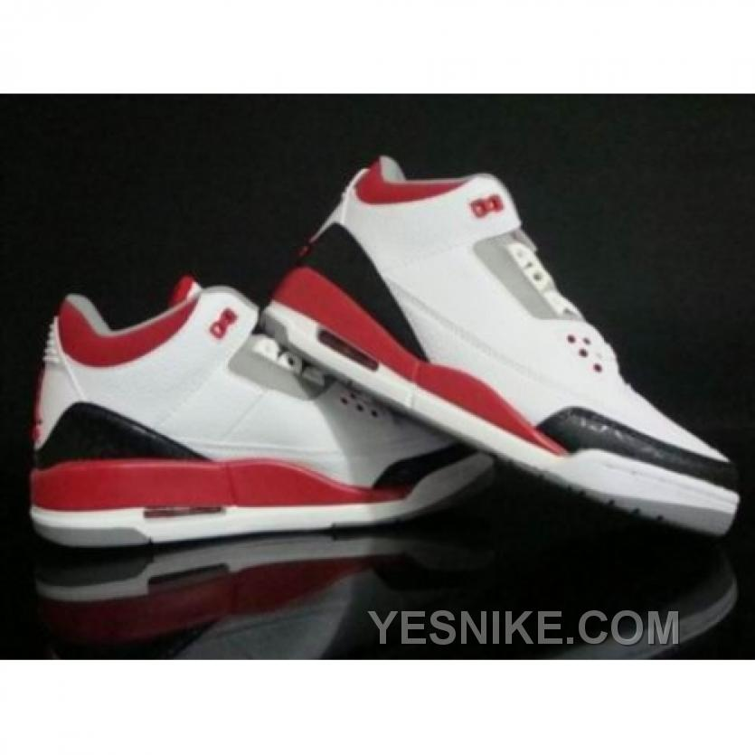 1a6510bee9f4f9 Big Discount! 66% OFF! Air Jordan Retro 3 White Fire Red Cement Grey ...