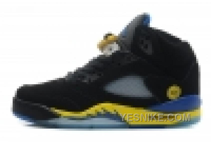 grossiste 8f77e a7e77 Big Discount! 66% OFF! Air Jordan 5 Retro Femme Basket Noir/Jaune/Bleu