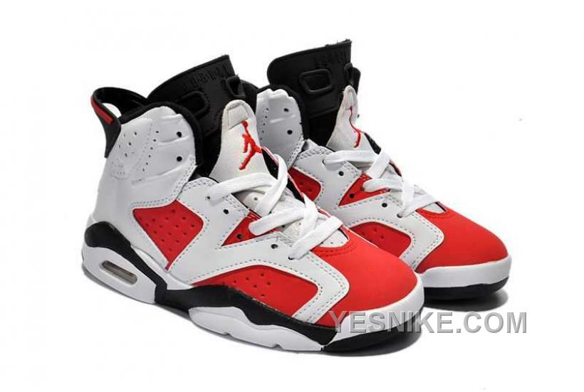 online retailer 6d83a a7870 Big Discount! 66% OFF! Nike Air Jordan 6 Kids White Red Black Shoes