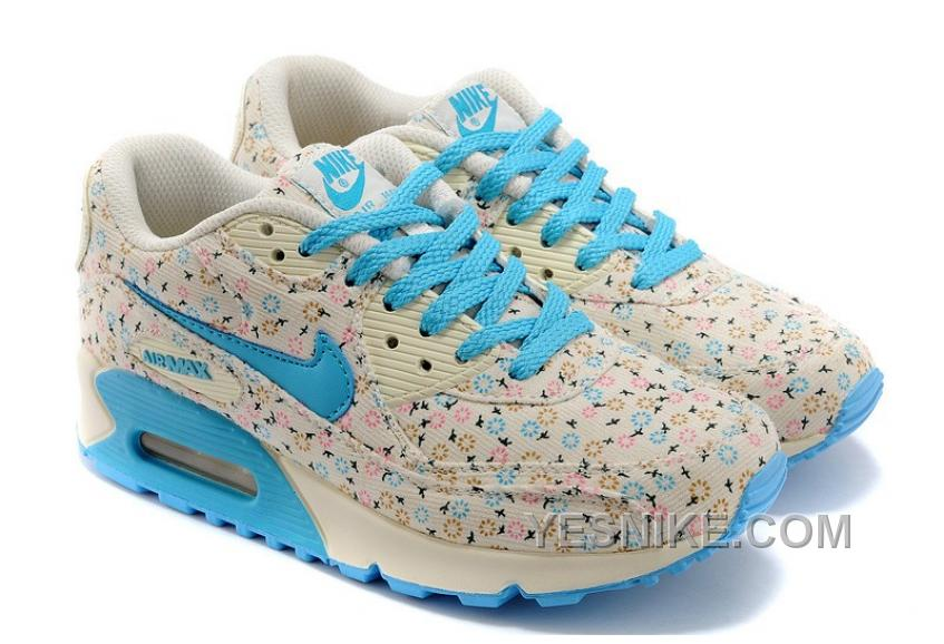 premium selection e31c5 cfd3b Big Discount ! 66% OFF! Nike Air Max 90 Womens Blue Flower Black Friday  Deals 2016[XMS1917]