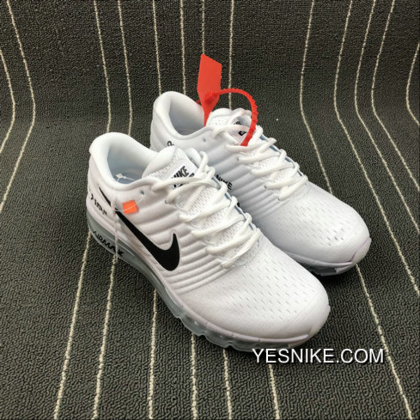 new products 4e646 ae6e7 2018 Nike Lab Off-White X Nike Air Max 2017 White Black Blang Noir For Sale