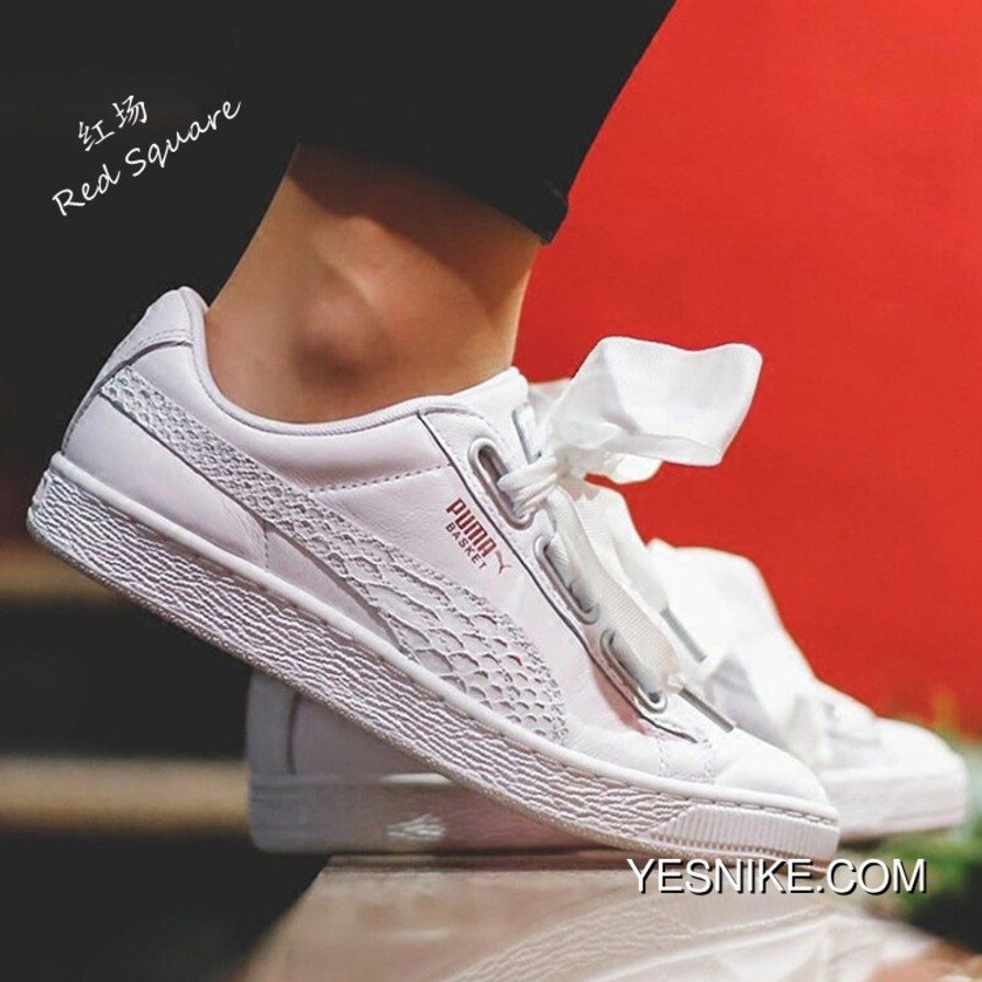 quality design f94fa 9f5d7 PUMA Basket Heart Oceanaire Casual Shoes White Snakeskin 366443-02 Outlet