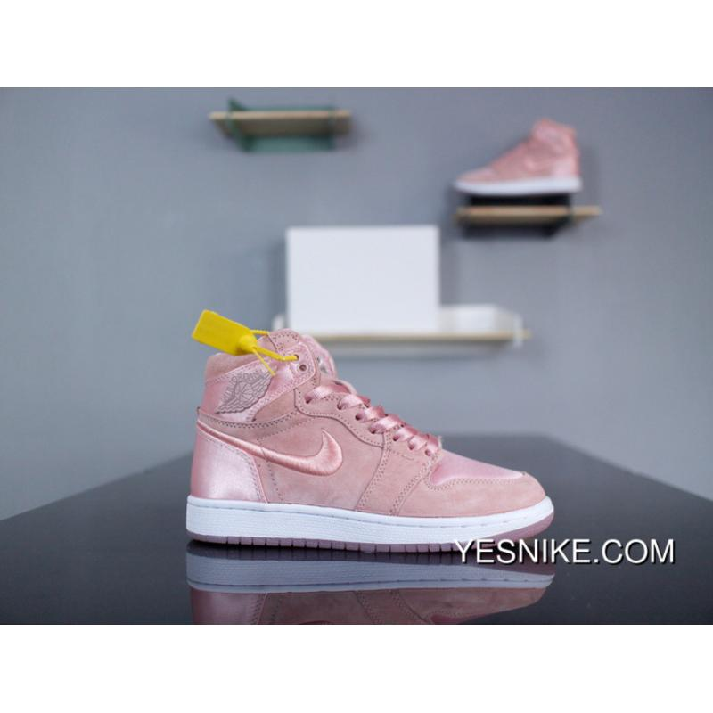 official photos 43fe0 7ef46 Nike Air Jordan 1 High Season Of Her AO1847-645 Sunset Tint Silk Embroidery  Chardonnay 2018 Summer Pink AJ1Women Quietly Elegant Series Insole ...