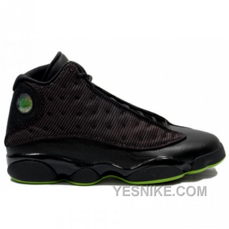 18022fac0bd0a7 Big Discount! 66% OFF! Air Jordan Retro 13s Black Altitude Green ...
