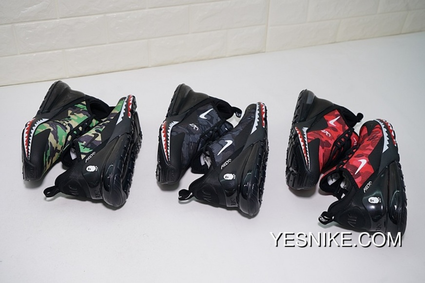 Creative Customized Japanese Camo Bape A Bathing APE X Nike Air Max 270 Series Heel Half palm As Jogging Shoes Red Shark Camo AH6799 016 Latest