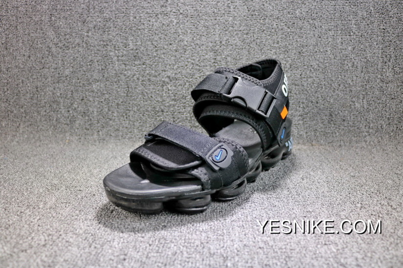 e0289625e62e6e OFF-WHITE X Nike Air Zoom Air VaporMax Beach Sandals Black Orange Blue  850588-