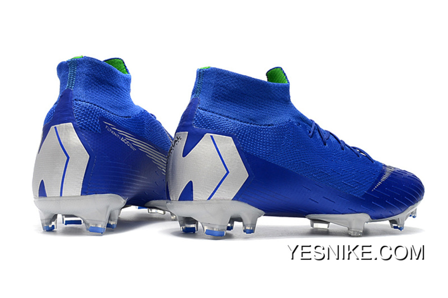 6755f98d913f2 Arrived The Nike Mercurial 2.0 Blue Silver Knitting Flyknit 360 Technology  Waterproof FG Nail Soccer Shoes